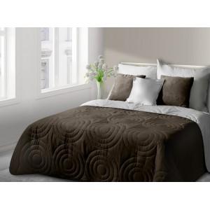 Hnědo bílý oboustranný pléd na postel s kruhy