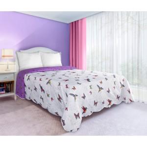 Oboustranné bílo fialové přehozy na manželskou postel s motivem barevných motýlů