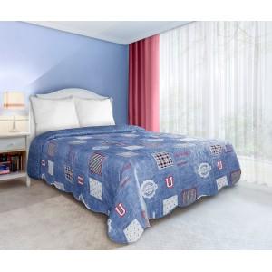 UNIVERSITY oboustranné přehozy a deky na postel v modré barvě