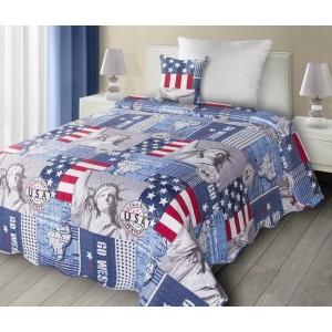 Modré patchwork přehozy s motivem USA