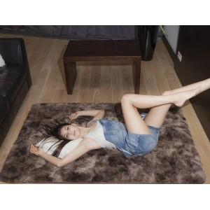 Plyšový kusový OMBRE koberec hnědé barvy