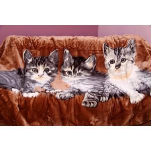 Akrylová deka hnědé barvy s kočkami