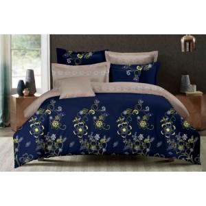 Kvalitní ložní povlečení modro béžové barvy s kytičkami