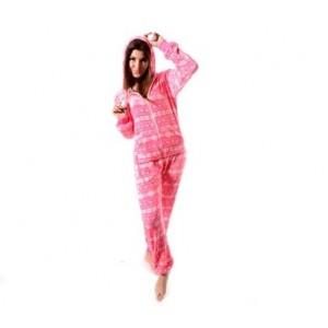 Dámské overaly na spaní růžové v nórským stylu