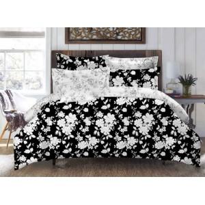 Černé ložní povlečení s bílými květy 160cm x 200cm