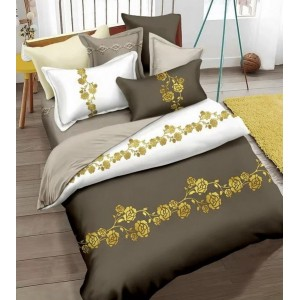 Kvalitní ložní povlečení tmavě béžového barvy s květinami 160x200cm