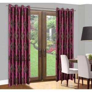 Hotové závěsy do oken fialovo hnědé barvy s motivem květin