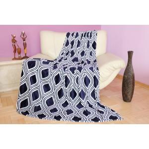 Luxusní deka v tmavě modré barvě s bílým motivem