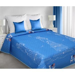 Přehoz přes postel modrý New York