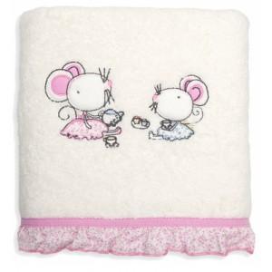 Krémově růžové bavlněné osoušky pro holčičky