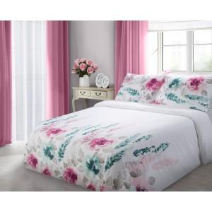 Bílé bavlněné povlečení na postel s květinami
