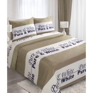 Hnědé bavlněné povlečení na postel s nápisem