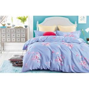 Modré bavlněné ložní povlečení s růžovými květy