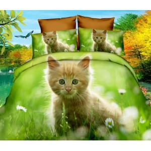 Zelené ložní povlečení s kočičkou 160x200 cm