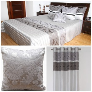Dekorační šedý set do ložnice s ornamenty