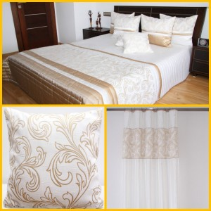 Krémová dekorační sestava do ložnice s oramnetom