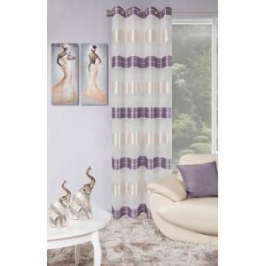 Elegantní závěsy do obýváku s fialovými pásy