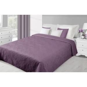 Fialový oboustranný přehoz na postel se vzorem květů