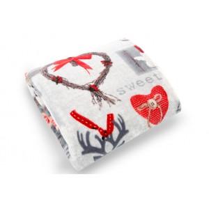 Moderní šedé deky do obývacího pokoje se vzorem srdcí