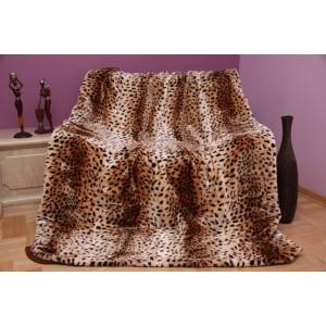 Měkká béžová deka s gepardím vzorem
