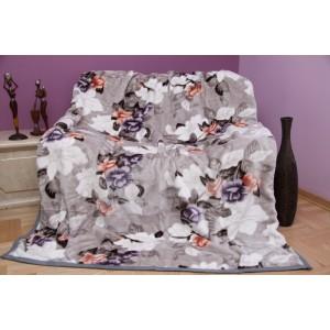 Moderní šedá deka s motivem kytiček