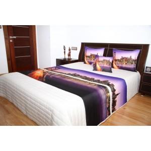 Přehoz na postel s motivem Brooklin Bridge na fialovém podkladu
