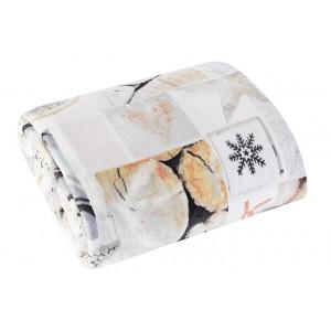 Krémová deka s motivem vloček