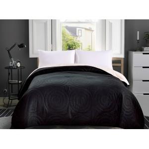 Černý oboustranný přehoz na postel s kruhy