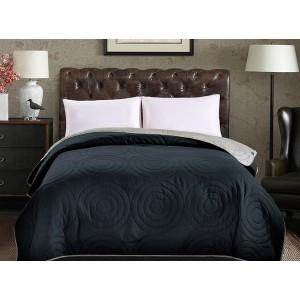Tmavomodré oboustranné přehozy na postel s motivem kruhů
