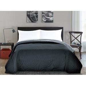 Šedé oboustranné přehozy na postel se vzorem kruhů