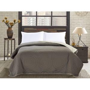 Oboustranné přehozy na postel v khaki barvě