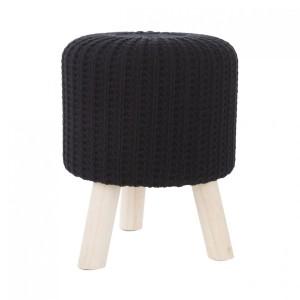 Moderní černá taburetka s dřevěnými nohami