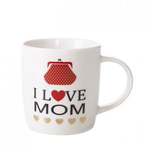 Béžový hrnek I LOVE MOM