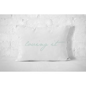 Bavlněný povlak na polštář s nápisem mentolové barvy
