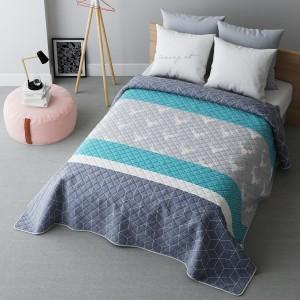 Moderní tyrkysový přehoz na postel na dvojlůžko