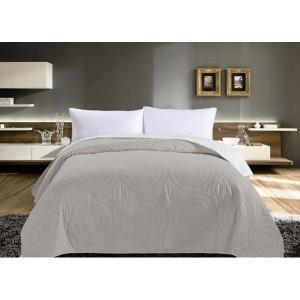 Šedý oboustranný přehoz na postel s kruhy