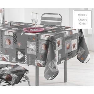 Šedé ubrusy na kuchyňský stůl s vánočním motivem