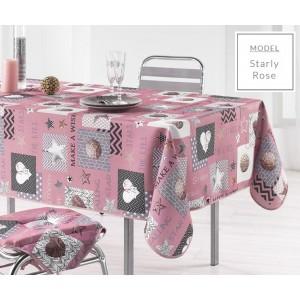 Vánoční ubrus na kuchyňský stůl v růžové barvě