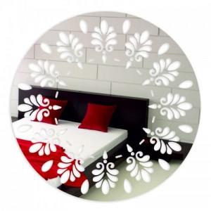 Kulaté nalepovací zrcadlo na stěnu se vzorem