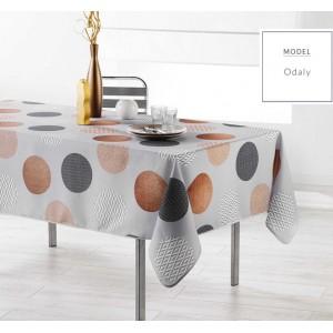 Šedý ubrus do kuchyně s motivem kruhů