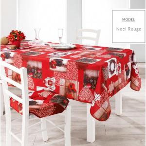 Červené ubrusy do kuchyně s motivem Vánoc
