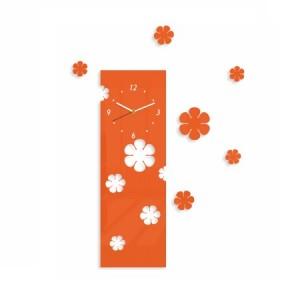 Oranžové nalepovací hodiny s motivem květů