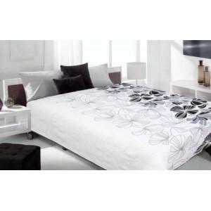 Luxusní oboustranný přehoz na postel bílý s černým kvítkem