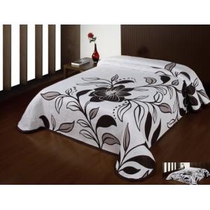 Luxusní oboustranný přehoz na postel bílý s hnědými kytičkami