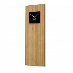 Bambusové hodiny na zeď s černým ciferníkem