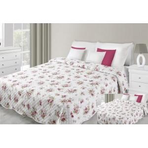 Přehoz na postel bílé barvy s motivem vínových květů