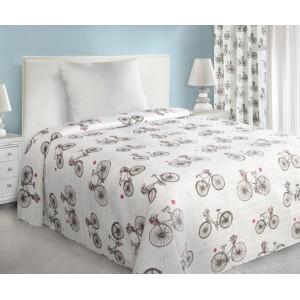 Světle hnědý přehoz na postel s motivem kola