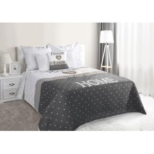Šedý přehoz na manželskou postel HOME