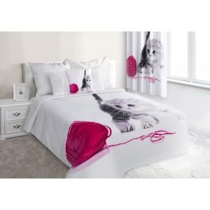 Bílé prošívané přehozy na postel s kočičkou