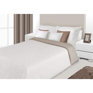 Přehoz na postel krémové barvy s prošívaným vzorem